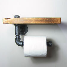 Industrial Urban Rustic Iron Pipe Toilet Paper Holder Roller With Wood Shelf