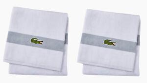 "2 x Lacoste Bath Towels 30""x25"" Gray & White 100% Cotton Iconic Crocodile NEW"