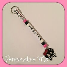 Personalised Bag Tag Keyring Monster High With Charm!! Add Your Name!!