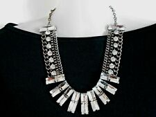 Clear Crystal and Chain Statement Necklace