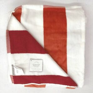 """NEW Pottery Barn Reversible Awning Stripe 40 x 72"""" Beach Pool Towel~MELON & RED"""