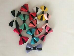 10 x 4cm Satin Stripe Bows *Various Colours*