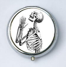 Skeleton Praying anatomy PILL CASE pillbox pill box holder gothic psychobilly