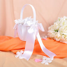 GB35 New White Big Bow Wedding Ceremony Satin Flower Girl Basket