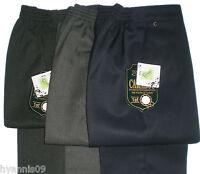 Boys Youth School slim fit uniform trousers half elastic waist age 4 -13