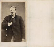 Homme à la moustache effilée posant en manteau, circa 1865 Vintage albumen print
