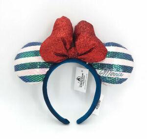 Mickey Mouse Pink Blue Disney Parks 2021 Minnie Ears Shanghai Red Bow Headband