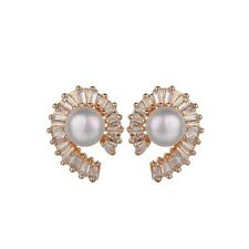 LOVELY 18K ROSE GOLD PLATED GENUINE AUSTRIAN CRYSTAL AND PEARL STUD  EARRINGS