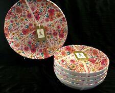 Beautiful RACHEL ASHWELL Pink Floral Melamine Dinner Plates & Pasta Bowls - 8 Pc