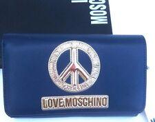 Portafoglio Borsello Love Moschino Motivo e Logo in Rilievo Cuciti Colore Blu