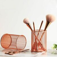 Style Rose Gold Hollow Makeup Brush Holder Cosmetic Organizer Desk Container hOt