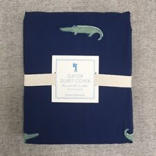 Pottery barn kids Gator Embroidered Duvet navy green Twin Alligator