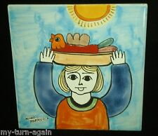 Nino Parrucca Signed Large Square Colorful Tile Italian Italy Girl Carrying Bird