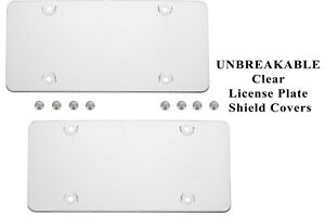 2 UNBREAKABLE Clear License Plate Shield Covers + 8 Screw Caps for Cars