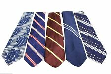 "Mens 5 Vintage Tie Lot Arrow 4-5"" Wide 1970s Stripes Paisley Polyester Blue"
