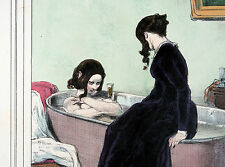 Les Lorettes Bad Bath Tub Badewanne Sekt Champaigne Original ca 1840 Gavarni