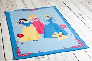 Disney Princess Trio Children's Non Slip Rug/Play Mat in Blue