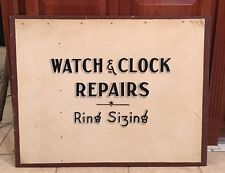 "1940-50's Watch Repairs Ring Sizing Advertising Sign 36"" X 29"" Advertising Sign"