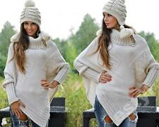 Waist Length Acrylic Poncho Jumpers & Cardigans for Women
