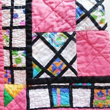 """Colorful Home Décor Handcrafted Quilt 50"""" x 50"""" Brightly colored 100% Cotton"""