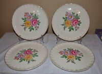 W S George Bolero  Floral Dinner Plates LOT SET 4 Antique Scalloped Gold 10""