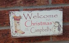 CHRISTMAS Signs shabby vintage chic plaque SNOWMAN STOCKING personalised signs