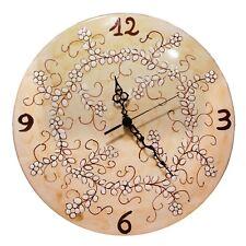 Orologio A Muro Da Parete Tondo Ceramica Vietri Beige Con Fiorellini Shabby Chic