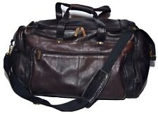 David King Boston Leather CARRY ON ESPRESSO DUFFLE BAG GYM WOW!