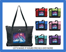 DOLPHIN SUNSET CUSTOM TOTE PURSE SPORTS GYM SCHOOL OVERNIGHT DIAPER BAG ZIPS