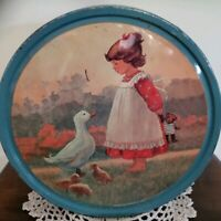 "Vintage ~ 10.5"" Dia ~ Danish Butter Cookie Tin with Lid ~ Artist Christa Kieffer"