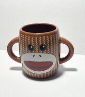 GALERIE Sock Monkey Brown Double Handle Coffee Cup Mug Ceramic 16oz.