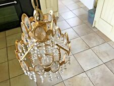 2  Chandeliers brass and crystal made in Sweden