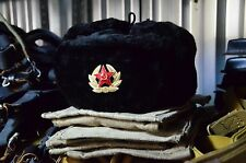 RUSSIAN SOVIET BLACK WINTER SOLDIER ARMY HAT USHANKA, NEW HAT WITH RED STARS