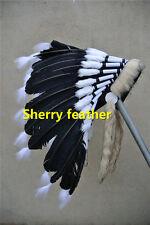 Black indian feather headdress indian war bonnet american costume H16006