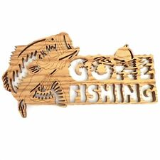 Beautiful Intricate Handcrafted Scroll Saw Wood Plaque GONE FISHING - GREAT GIFT