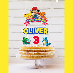 Pokemon Cake Topper Personalised *STURDY* Kids Birthday Party Decorations