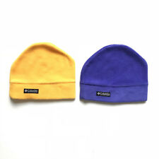 Columbia Toddler Yellow Purple Fleece Stocking Cap Beanie Hat One Size Lot of 2
