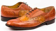 Mens Cognac Honey Genuine Lizard Crocodile Exotic Dress Shoes Size 9