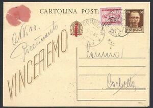 STORIA POSTALE RSI 1944 Intero 30c come AR da Milano a Corbetta (Y0)