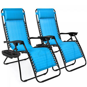 Set of 2 Adjustable Zero Gravity Lounge Chair Recliners Patio Pool w/ Cup Holder