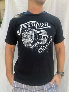 Johnny Cash Black Guitar/song Image T Shirt Medium Unisex