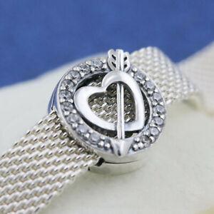 Authentic 925 Sterling Silver REFLEXIONS™ Asymmetrtic Heart & Arrow Clip Charm