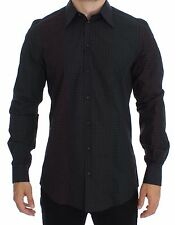 NWT $480 DOLCE & GABBANA Black Multicolored Checkered GOLD Slim Fit Shirt 39 / S