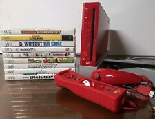 Nintendo Wii Limited Edition Red Console BUNDLE w/ 10 Games GameCube Comp Mario