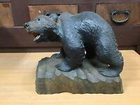 Y0709 OKIMONO Wood carving Bear home decor Japanese antique statue figure Japan
