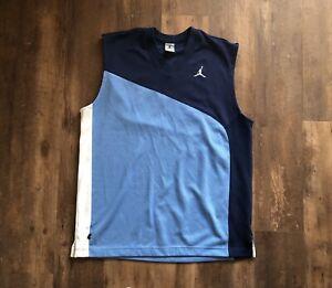 VTG Nike Air Jordan Jumpman Basketball Jersey Two Tone Blue Tank Top Shirt XXL