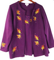 Quacker Factory 2X 18 20 Cardigan Sweater Fall Leaves Purple Built in Tank   oo