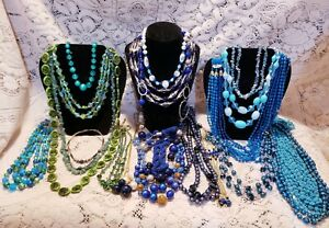 21 Piece Vintage and Modern Blue and Green Beaded Necklace Lot