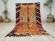 "Moroccan Vintage Handmade Wool Rug 4'x6'8"" Berber Boujaad Tribal Orange Carpet"