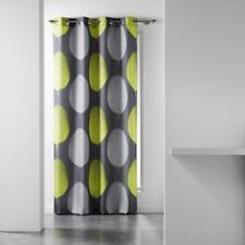 Tempo Eyelet Curtain Voile Panel With Circle Print Grey Pink Lime Green